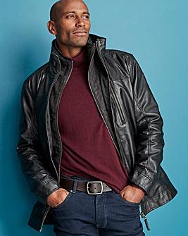 W&B Black Leather Harrington R