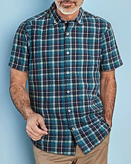 W&B Navy Check Seersucker Shirt L
