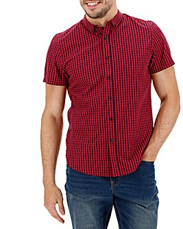 Red Check Short Sleeve Gingham Shirt