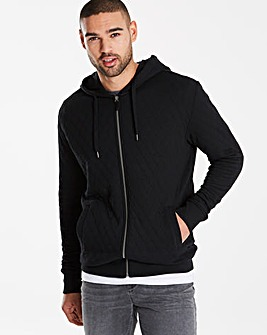 Jacamo Quilted Effect Hooded Top Regular