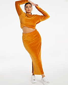 Cord Look Jersey Midi Skirt