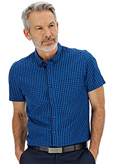 Blue Check Short Sleeve Gingham Shirt