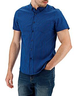 Blue Check Short Sleeve Gingham Shirt