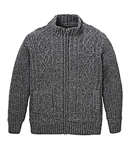 W&B Charcoal Sherpa Lined Cardigan R
