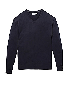 Navy Wool Mix V Neck Jumper Regular