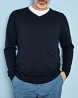 Navy Wool Mix V Neck Jumper R