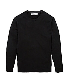 W&B Black Wool Mix Crew Neck Jumper R
