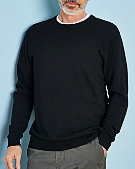 Black Wool Mix Crew Neck Jumper Regular
