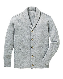 Grey Fleece Button Cardigan Regular