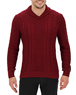 Dark Red Shawl Collar Jumper
