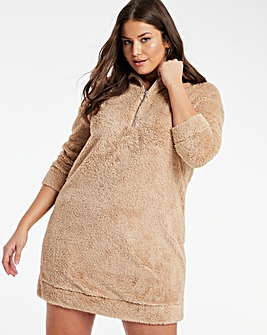 Teddy Fur Sweat Dress