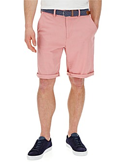 Pink Turnup Chino Shorts with Belt