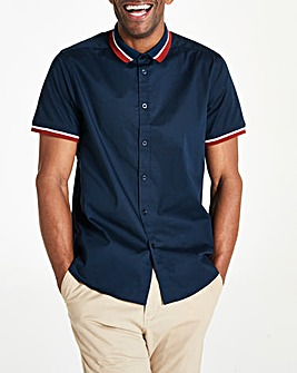 Short Sleeve Contrast Stretch Shirt