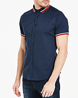 Short Sleeve Contrast Stretch Shirt