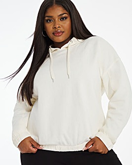 Drawstring Hem Cream Pull on Hoodie