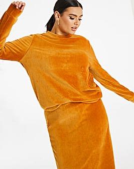 Rich Tan Cord Look Jersey Sweatshirt