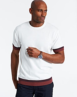 White Crew Neck Short Sleeve Knitted T-Shirt Regular