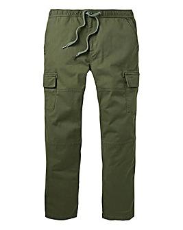 Khaki Elasticated Cargo Trousers 31in