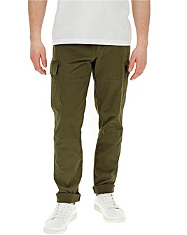 Khaki Elasticated Cargo Trousers 31in