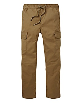 Brown Elasticated Cargo Trousers 31in