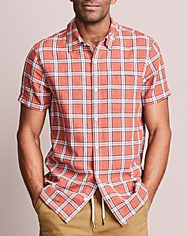 Short Sleeve Check Linen Mix Shirt
