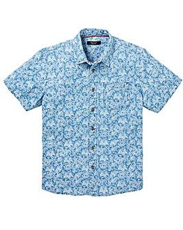 Blue Short Sleeve Design Shirt Regular