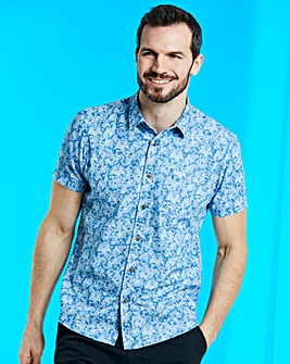 Blue Short Sleeve Design Shirt Regular