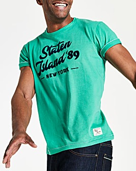 Green Short Sleeve Print T-Shirt Regular