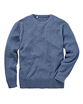 Blue Textured Linen Mix Jumper Regular