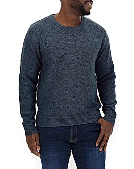 Blue Textured Linen Mix Jumper Regular