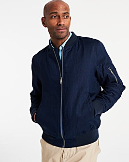 Navy Linen Bomber Jacket Regular