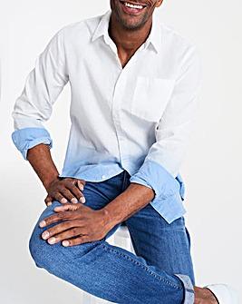 Long Sleeve Dip Dye Linen Shirt