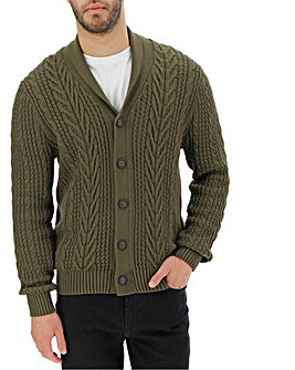 Khaki Cable Button Cardigan