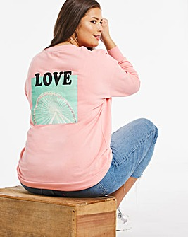 Soft Coral Back Graphic Sweatshirt