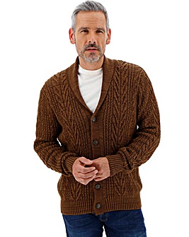 Brown Cable Button Cardigan
