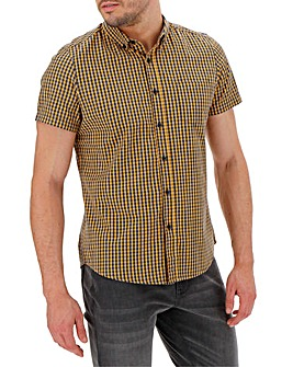 Mustard Check Short Sleeve Gingham Shirt