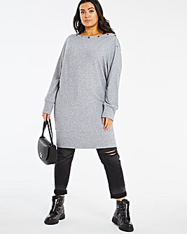 Cut And Sew Button Neck Tunic