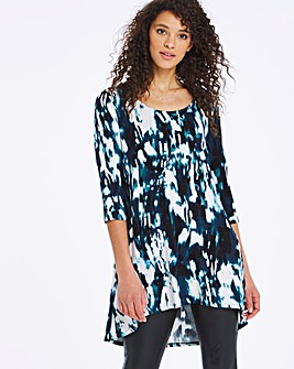 Navy Print Dip Back Tunic