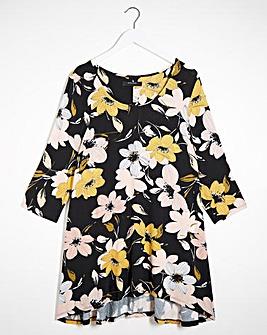 Floral Print Dip Back Tunic