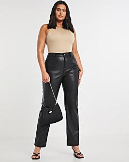 Faux Leather PU High Waist Straight Leg Trousers