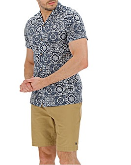 Short Sleeve Rever Collar Print Shirt