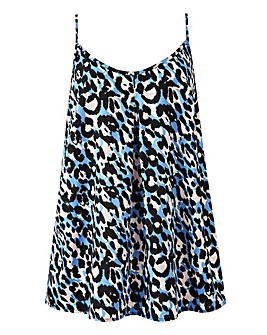 Blue Animal Printed Strappy Cami