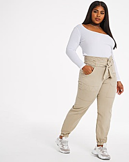 Beige Paperbag Elasticated Waist Cargo Trousers