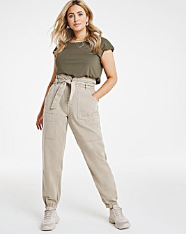 Beige Belted Elasticated Waist Cargo Trousers