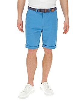 Blue Turnup Chino Shorts with Belt