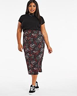 Floral Jersey Full Midi Skirt