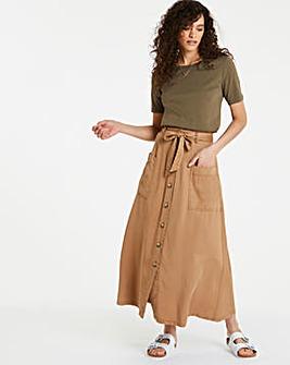 Camel Soft Tencel Paperbag Midaxi Skirt