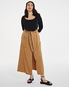 Camel Soft Tencel Paperbag Midaxi Skirt