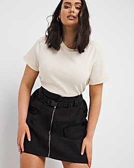 Black Belted Cargo Skirt