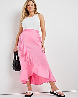 Pink Satin Frill Midi Skirt